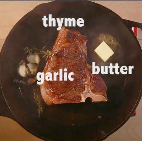 Then add a bunch of FLAVOR. Add about 2 tablespoons of unsalted butter, some crushed garlic cloves and a few sprigs of thyme.