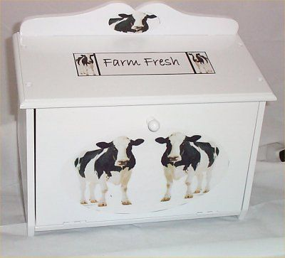 Country Cows for Kitchen | ... Bread Box Cow Kitchen Country Farm Wood Barn White Cows New Breadbox