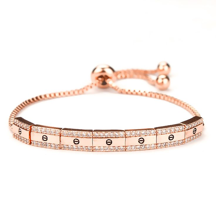 Square Symbol Design Cubic Zirconia Crystal  Adjustable Zircon Bracelets for Men in rose gold / yellow gold /white gold
