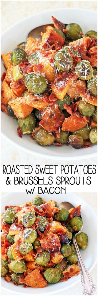 Roasted Brussels Sprouts, Sweet Potatoes & Bacon