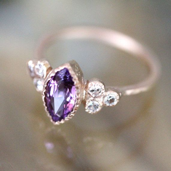 Purple Pink Sapphire 14K Rose Gold Engagement Ring, Gemstone Ring, Stacking Ring, Birthstone Ring, Eco Friendly - Ship In The Next 9 Days