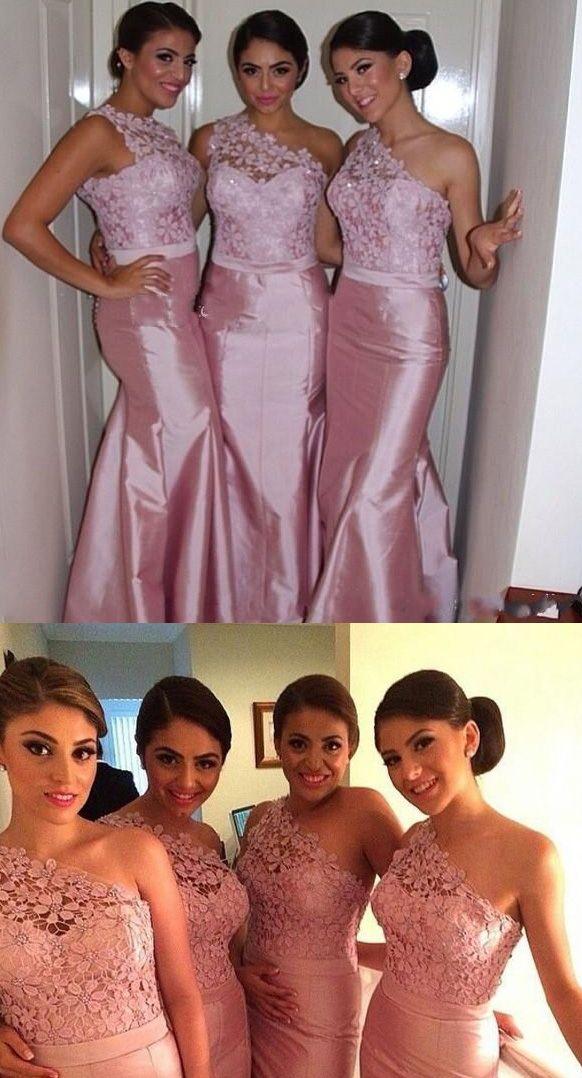 Trendy One shoulder Bridesmaid Dress with a Ribbon, Mermaid Floral Lace Bridesmaid Dresses, Pastel Pink Bridesmaid Dress, #01012750