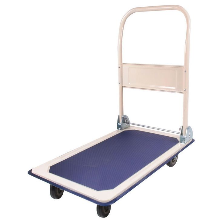 150KG Bearing Capacity Trolley Folding Flat Cart Creamy & Dark Blue