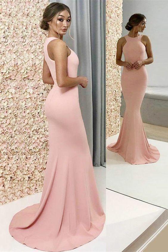 Cheap Long A-Line Halter Pink Satin Bridesmaid Dresses, TYP0951