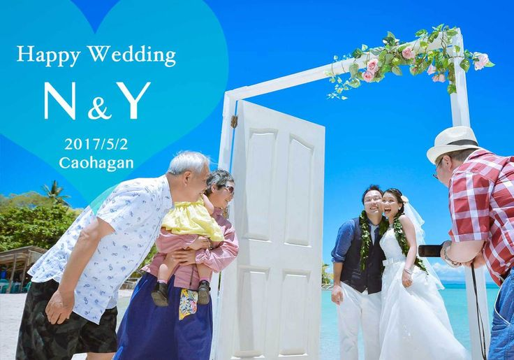 Beach wedding session for N&Y @Caohagan, Cebu  N様&Y様のウェディングセレモニーフォト♡白い扉が映える絶景カオハガンで