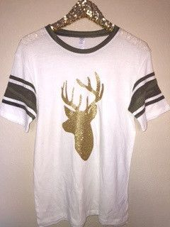 Camo Sleeve Deer T-Shirt - Deer Hunting Shirt - Ruffles with Love Camo Sleeve Shirt with Gold glitter image -50% Polyester, 38% Cotton, 12% Rayon -Contrast Sleeve Striping -Contrast Set In Neckband -S