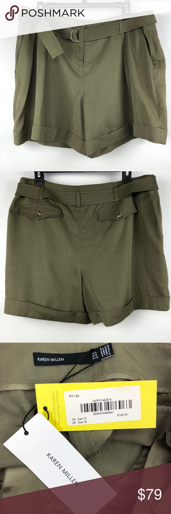 """Karen Millen Olive Free Dressy Shorts Sz 12 Posh Thrift Shop  Thanks for stopping by!!!  Item: Karen Miller Women's Size 12 Olive Green Dressy Shorts Belted Folded Hem Pleated  Condition: Brand new with tags.  Please refer to images for more details about this item. If you have any questions please feel free to ask. All measurements are taken with the item laying and are approximate.   Waist 19"""" Karen Millen Shorts"""