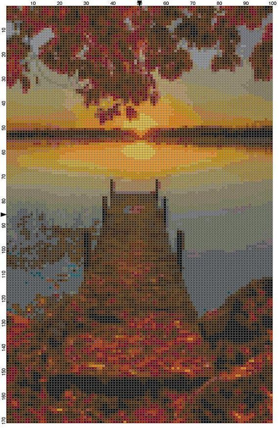 Cross Stitch Pattern Autumn Sunrise PDF by theelegantstitchery, $10.00