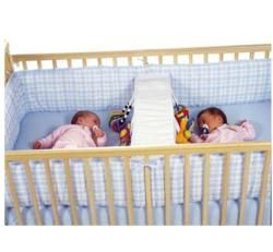 "Crib solutions for twins!  One pinner says, ""We had one of these for our twins.  we used it to divide the crib in half and both babies slept on one side and we had a spot to change daipers on the other side."""