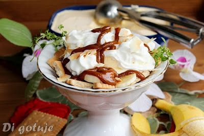 Di gotuje: Deser banoffee z lodami (ciasteczka z bananem, lod...