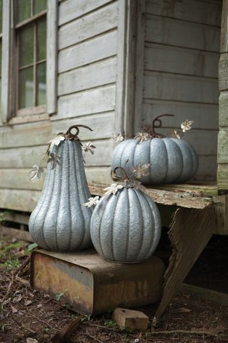 "Galvanized Pumpkins with Rustic Detail Dimensions (in):Left - 16""""d x…"