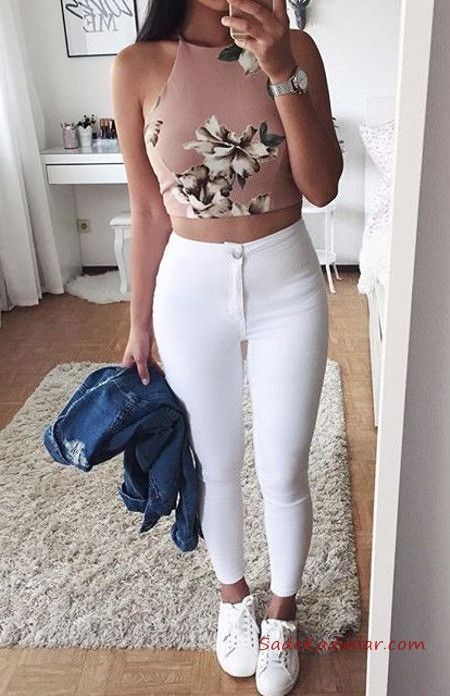 2019 Yuksel Bel Jean Combs White Yukle Waist Trousers Powder Halter Collar Patterned Short Blouse …