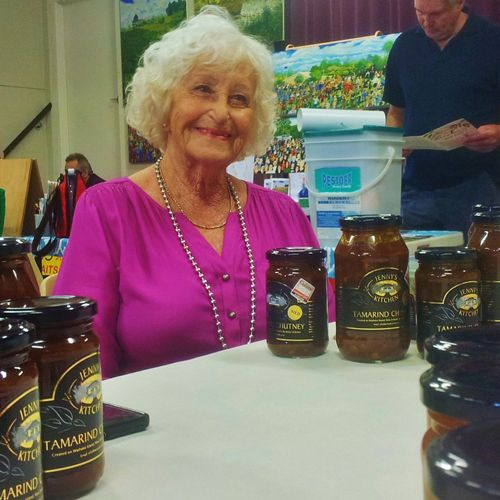 Golden oldie Jenny with her Tamarind Chutney at the Waiheke market