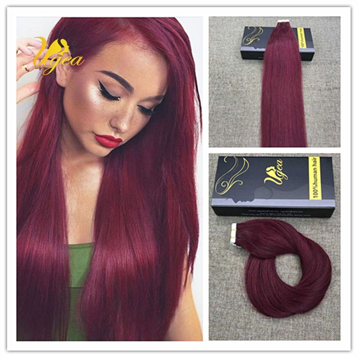 134 best tape in hair extensions images on pinterest curtains details about 8a virgin color 99j red wine remy pu tape in 100 real human hair extensions pmusecretfo Choice Image