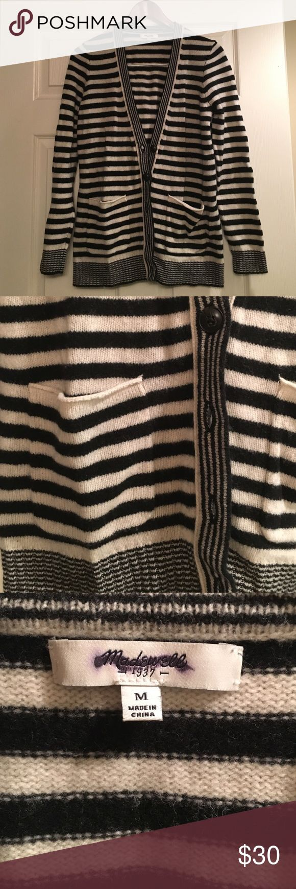 Madewell B/W Striped Grandpa Sweater Madewell size M black and white striped button up sweater. Gently worn, no pilling. Tortoiseshell buttons. Front pockets. Smaller stripe detailing. I love it with a chunky knit scarf and leather jacket! Madewell Sweaters Cardigans