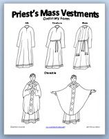 Link to this free priest & vestments coloring page. Color this in the different liturgical colors and put magnetic tape on the back. Let students put the right liturgical color on.