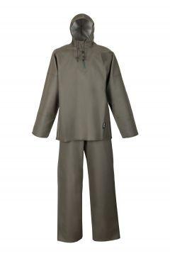 КОСТЮМ МОРСКОЙ ВЛАГОЗАЩИТНЫЙ Артикул: 1066/006 Костюм состоит из куртки (куртка с капюшоном с застежкой-пата на кнопки одевается через голову; рукава с внутренними манжетами) и полукомбинезона (с регулирующимися бретелями из эластичной тесьмы); с двусторонними герметичными швами. Костюм выполнен из влагостойкой ткани Plavitex Heavy Duty. Рекомендуется для рыболовецких работ. Предназначен для работы в тяжелых атмосферных условиях. Защищает от дождя, ветра и соленой воды.