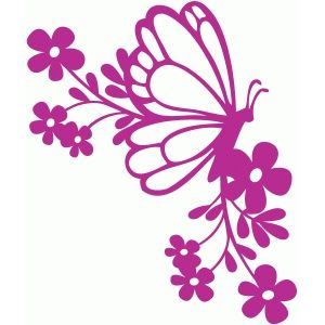 Silhouette Design Store: butterfly floral corner
