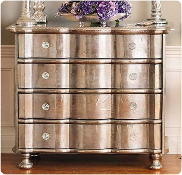 Metallic Paint on Old Wood Furniture, http://hative.com/creative-diy-painted-furniture-ideas/
