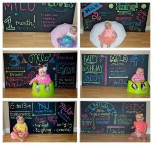 Chalkboard - Baby Monthly Milestones by Christy Lynn McCaghren-Carter