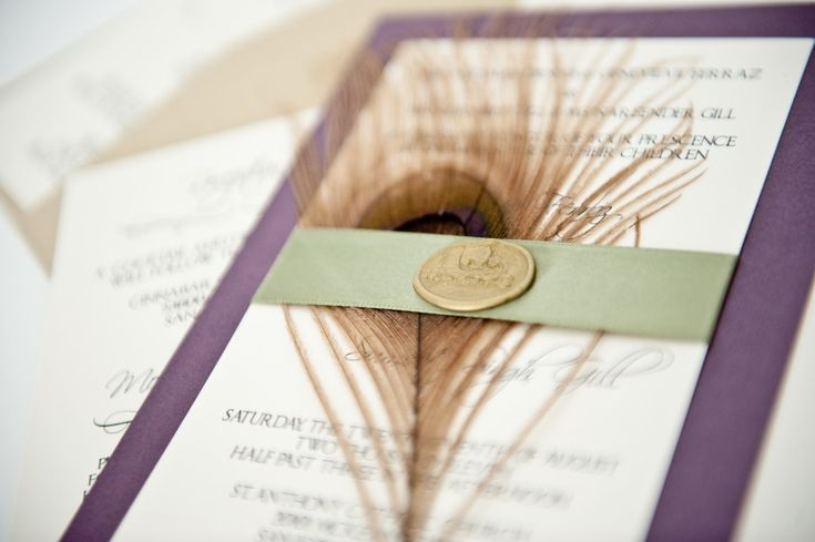Eggplant and Sage Green Wedding Invitation w/ Peacock Feather.  Etsy Treasury › Garden Eggplant >  by Tami Cicale