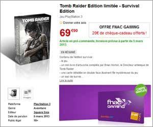 Édition limitée de Tomb Raider Survival Edition : 20 euros offerts en chèque cadeau pour sa précommande | Maxi Bons Plans