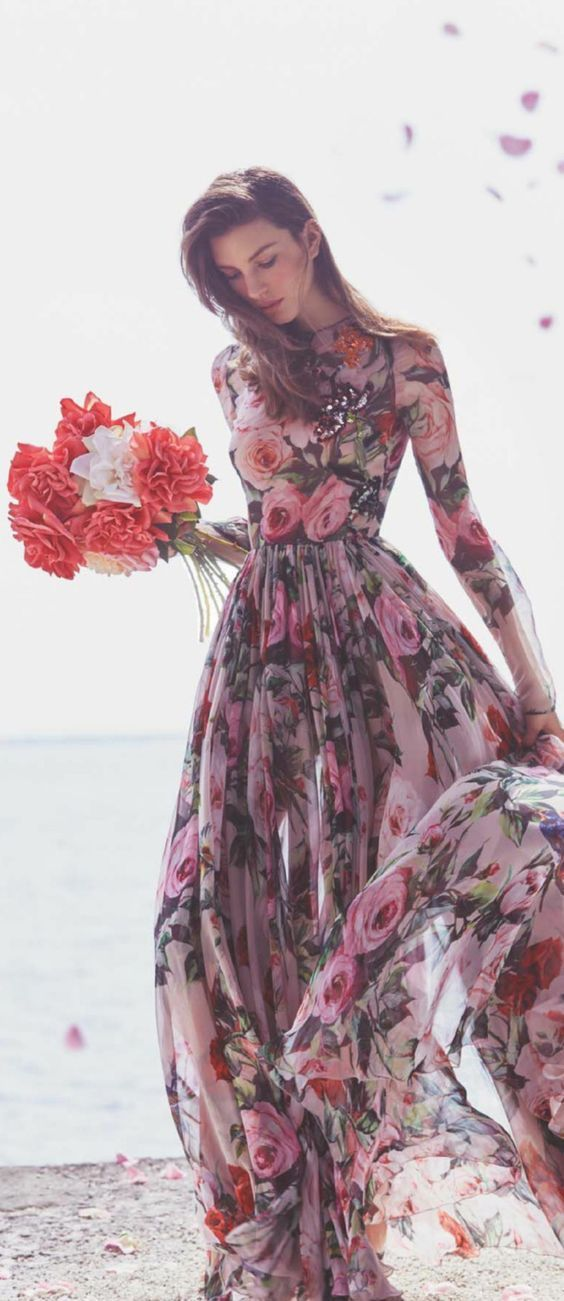 Pink Orange Full Length Long Sleeve Flower Floral Maxi Dress for Women.Wedding,Bridesmaid,Summer,Spring,Winter