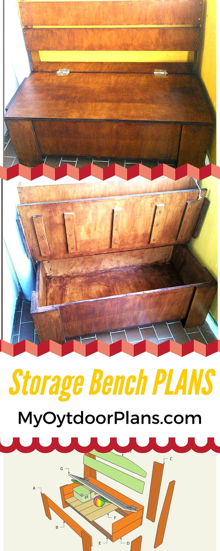 Free outdoor storage bench plans - Step by step instructions and guidelines for you to learn how to build a storage bench in just a few hours! myoutdoorplans.com #diy #bench