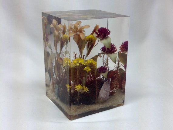 Figurine de carré acrylique sec fleur Vintage Rectangle Paperweight jaune rouge Lucite Bureau cuisine Desk bijou