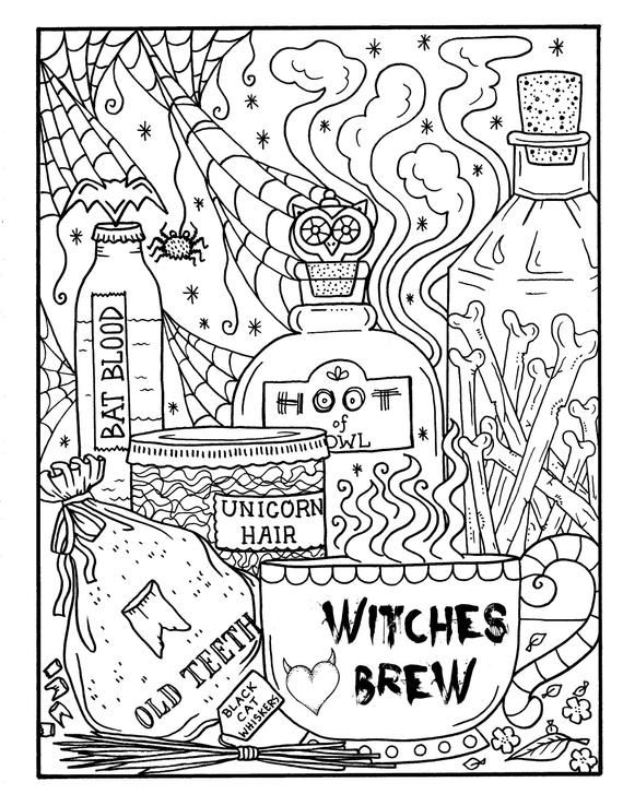 Witchy Brew Coloring Page Pdf Halloween Coloring Fun Etsy In 2021 Witch Coloring Pages Cool Coloring Pages Halloween Coloring Sheets