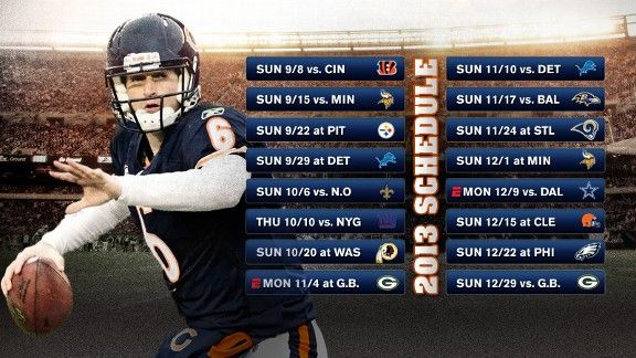 2013 printable chicago bears schedule | CHICAGO Sports Teams, Scores, Stats, News, Standings, Rumors - ESPN ...