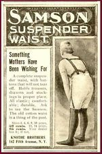 HOLDS TROUSERS TO STOCKINGS - 1899 SAMSON SUSPENDERS AD