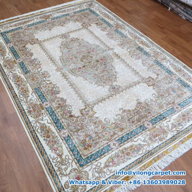 Hand Knotted Silk Turkish Rug Offered By Yilong Medallion Design In The Middle Of White Base Blue Border Alternating Material Face And