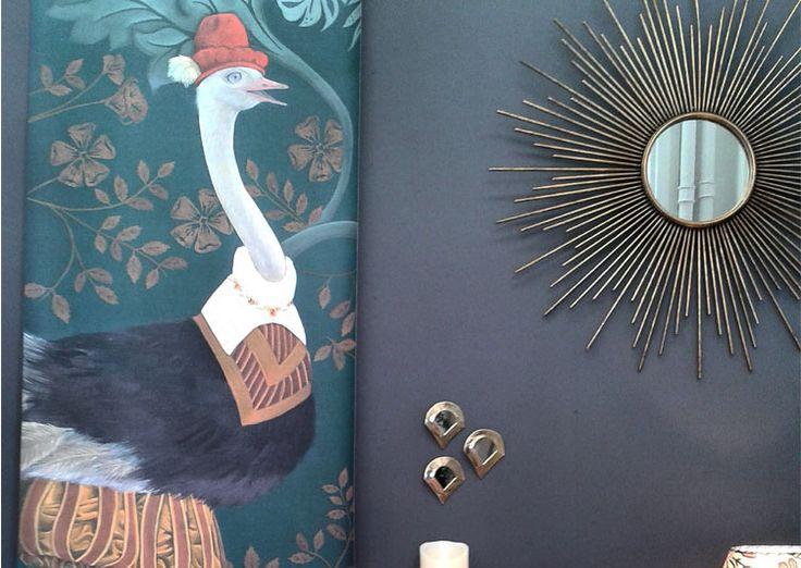 lé de papier peint autruche dessin art