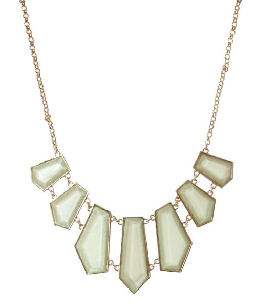 Sparkly Jewelry is on every wish list! bootlegger.com : kismet pastel green geometric necklace