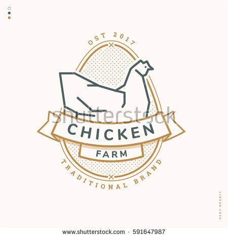chicken farm linear logo, logotype badge