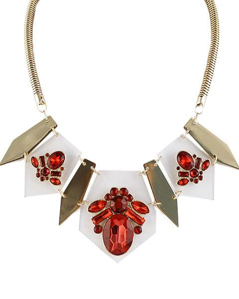 Collar dorado geométrico piedra-Sheinside