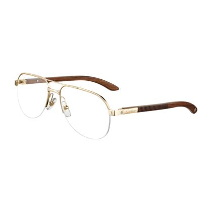 Cartier Eyeglasses Frames Mens : Santos wood - Engraved wood, golden finish titanium - Fine ...