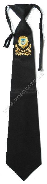 Галстук черный с вышивкой казаков