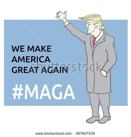 Donald Trump. We make america great again. Editable line sketch. Stock vector illustration.