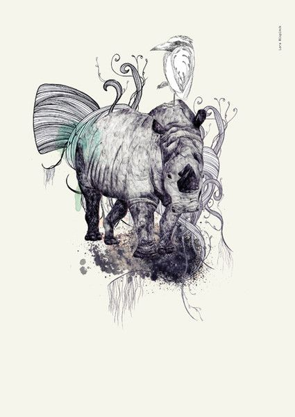 Digital printing – Rhinoceros | A3 print – a unique product by everywhereyougo on DaWanda