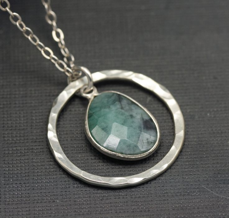 Rustic, Natural Emerald Pendant Necklace, Hammered Sterling Silver. Etsy.