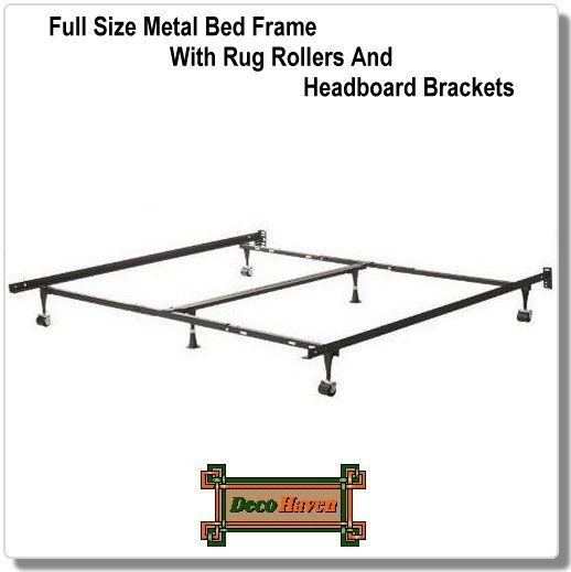 Full Size Metal Bed Frame With Rug Rollers And Headboard Brackets