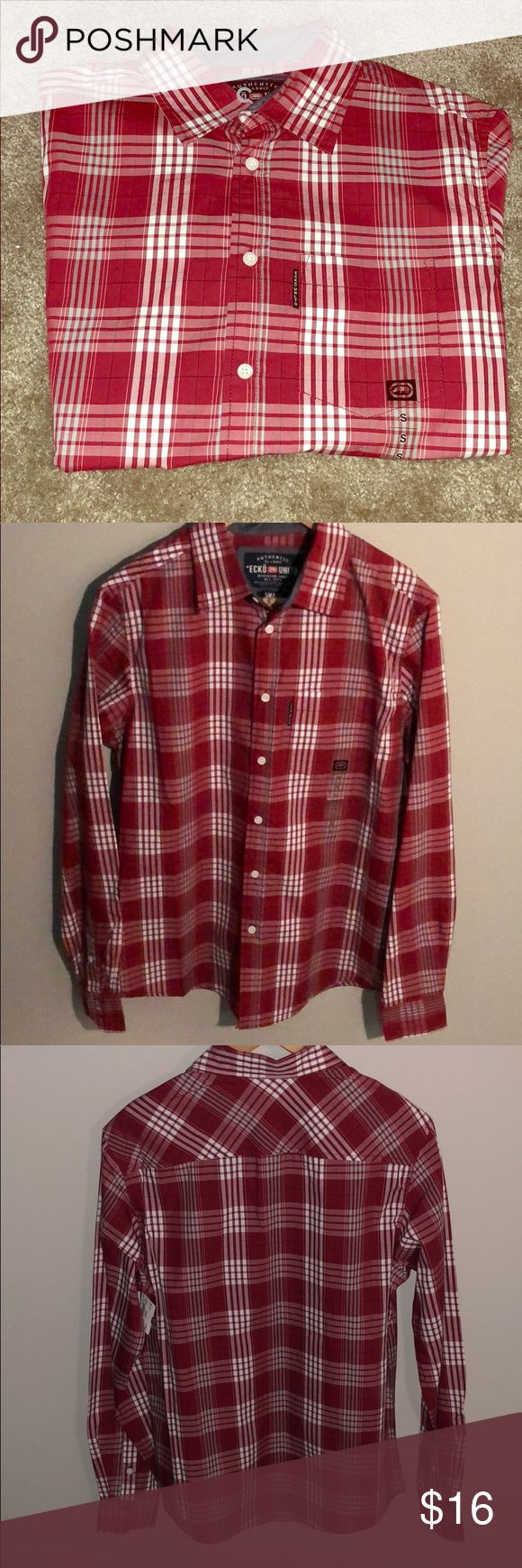 Ecko Unltd Crimson Red Plaid Shirt -Brand New w/ tag -Never worn -Size Small -100% Cotton -Has chest pocket Ecko Unlimited Shirts Casual Button Down Shirts