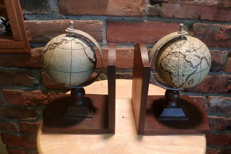 Vintage Globe Bookends, Vintage bookends, office décor, library décor, Rotating globe bookends, Midcentury Old World Globe Bookends by Morethebuckles on Etsy
