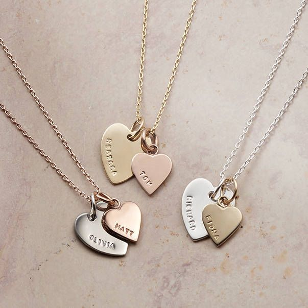 Are you interested in our Personalised Jewellery for Her? With our Solid Gold Double Heart Charm Necklace you need look no further.