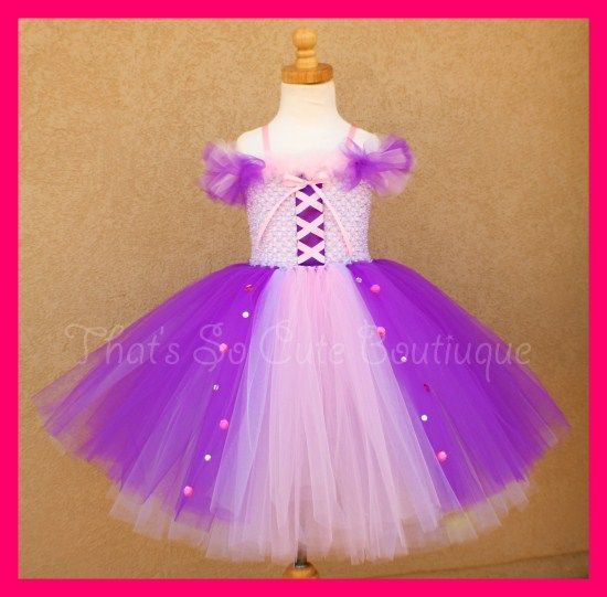 Rapunzel Tangled Inspired Tutu Dress-rapuzel, tutu dress, disney princess, pink, purple, costume, halloween