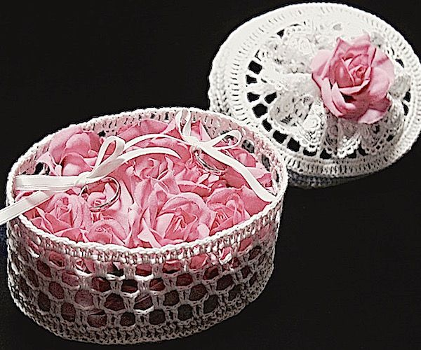 ateliersarah's ring pillow using a lace basket/rose of light pink