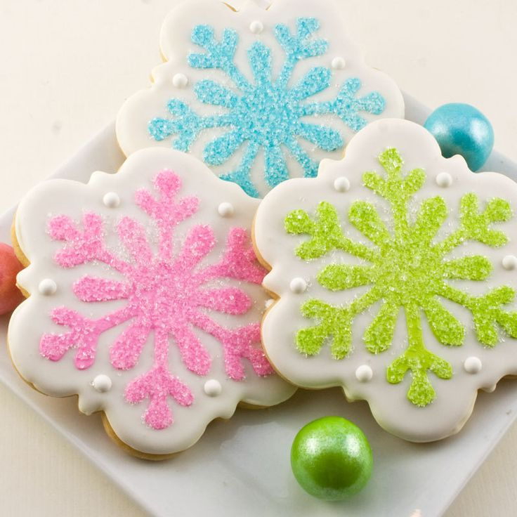 Snowflake Winter Holiday Decorated Cookies - 12 individually sealed cookies, favor size. $27.00, via Etsy.