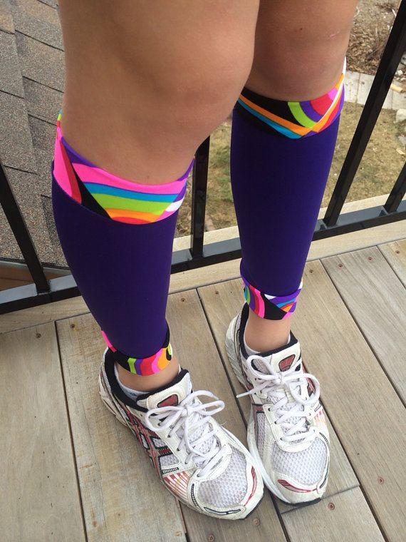 Running calf sleeves... Compression sleeves... Royal by StullKnits, $17.50 color run